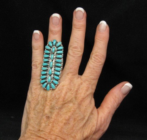 Image 1 of Native American Navajo Turquoise Sterling Silver Ring sz7-1/2, Zeta Begay