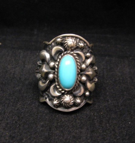 Image 0 of Darryl Becenti Navajo Turquoise Sterling Silver Ring sz7-1/2