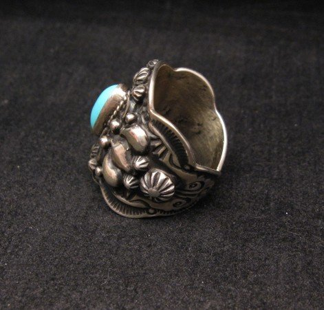 Image 3 of Darryl Becenti Navajo Turquoise Sterling Silver Ring sz7-1/2