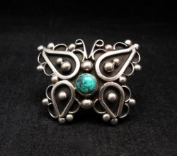 Native American Lorena Nez Silver Turquoise Butterfly Ring sz6