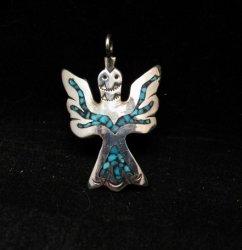 Navajo Sterling Silver Chip Inlay Peyote Bird Waterbird Pendant, Loretta Bia