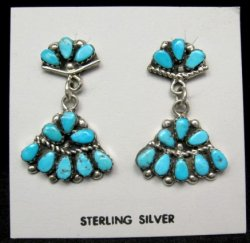 Griffin & Vangie Tsabetsaye Zuni Turquoise Post Dangle Earrings