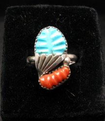 Zuni Native American Carved Turquoise Coral Ring, Loyolita Othole,  sz9-1/2