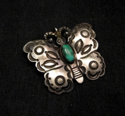 Navajo Old Style Sterling Silver Turquoise Butterfly Pendant
