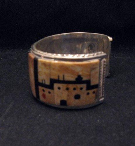 Image 1 of Native American Zuni Gilbert Calavaza Inlaid Bear Pueblo Bracelet