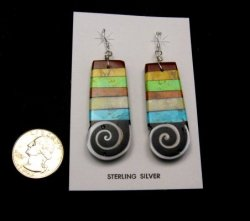 Big Mary Tafoya Santo Domingo Multigem Inlay Earrings