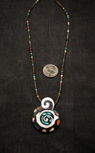Image 2 of Abstract Mary Tafoya Santo Domingo Multi-Stone Inlay Necklace