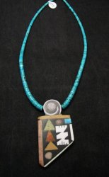 Special Santo Domingo Pueblo Indian Mosaic Inlay Necklace, MARY TAFOYA