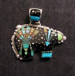 Native American Navajo Inlaid Cosmic Bear Pendant, Matthew Jack