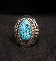 Native American Navajo Kingman Black Web Turquoise Ring Sz7