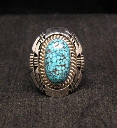 Image 0 of Native American Navajo Kingman Black Web Turquoise Ring Sz8-1/2