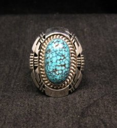 Native American Navajo Kingman Black Web Turquoise Ring Sz8-1/2