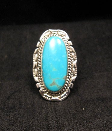 Image 1 of Native American Navajo Kingman Turquoise Sterling Silver Ring Sz8