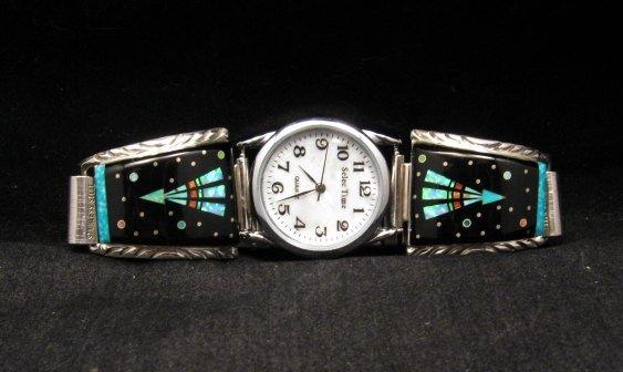 Image 0 of Native American Navajo Multigem Inlay Watch Bracelet, Matthew Jack