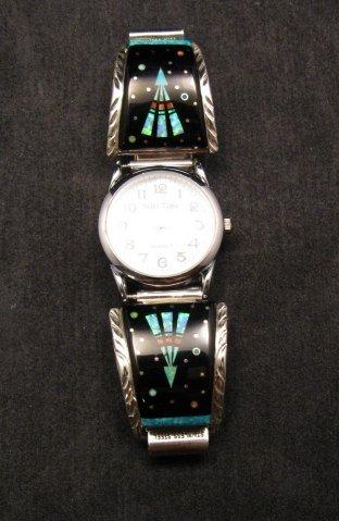 Image 1 of Native American Navajo Multigem Inlay Watch Bracelet, Matthew Jack