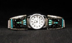 Native American Navajo Multigem Inlay Watch Bracelet, Matthew Jack