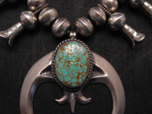 Image 3 of Navajo Native American Turquoise Squash Blossom Necklace, Eugene Hale