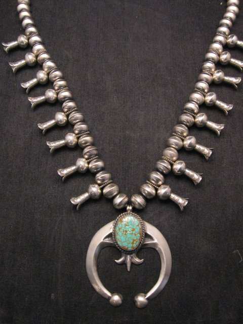 Image 6 of Navajo Native American Turquoise Squash Blossom Necklace, Eugene Hale