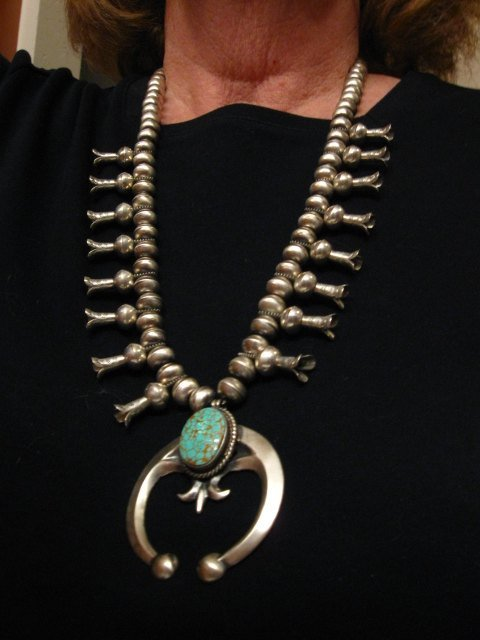 Image 7 of Navajo Native American Turquoise Squash Blossom Necklace, Eugene Hale