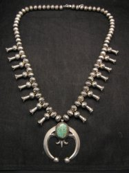 Navajo Native American Turquoise Squash Blossom Necklace, Eugene Hale