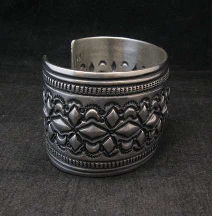 Image 3 of Wide Navajo Handmade Repousse Stamped Sterling Silver Bracelet, Darryl Becenti