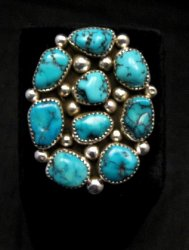 Huge Native American Navajo Kingman Turquoise Nugget Ring Sz8