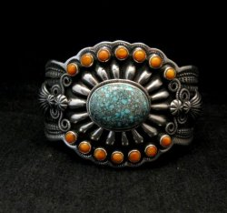 Darrell Cadman Navajo No. 8 Turquoise Spiny Oyster Silver Bracelet