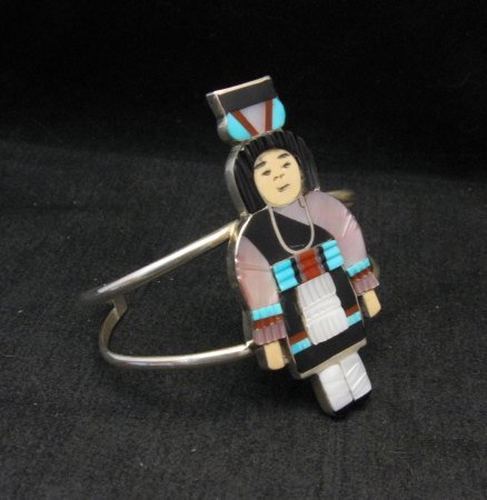 Image 1 of Madeline Beyuka Zuni Native American Multi Inlay Olla Maiden Bracelet