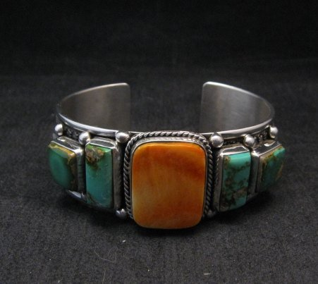 Image 0 of Navajo Turquoise Spiny Oyster Silver Bracelet, Guy Hoskie