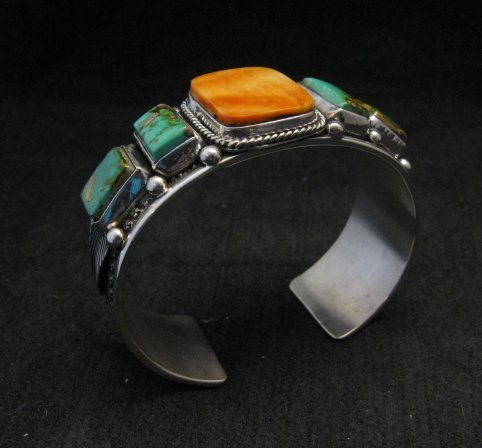 Image 1 of Navajo Turquoise Spiny Oyster Silver Bracelet, Guy Hoskie