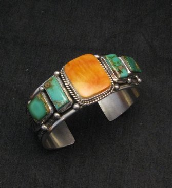 Image 2 of Navajo Turquoise Spiny Oyster Silver Bracelet, Guy Hoskie