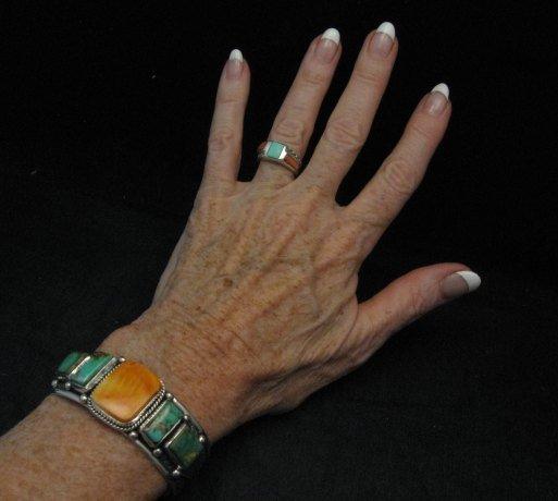 Image 3 of Navajo Turquoise Spiny Oyster Silver Bracelet, Guy Hoskie
