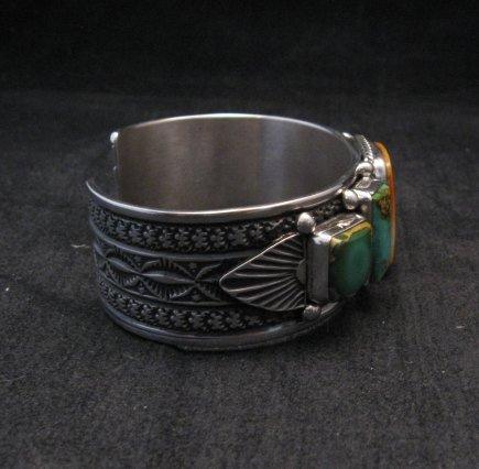 Image 4 of Navajo Turquoise Spiny Oyster Silver Bracelet, Guy Hoskie