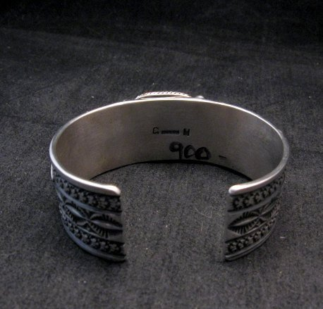 Image 5 of Navajo Turquoise Spiny Oyster Silver Bracelet, Guy Hoskie