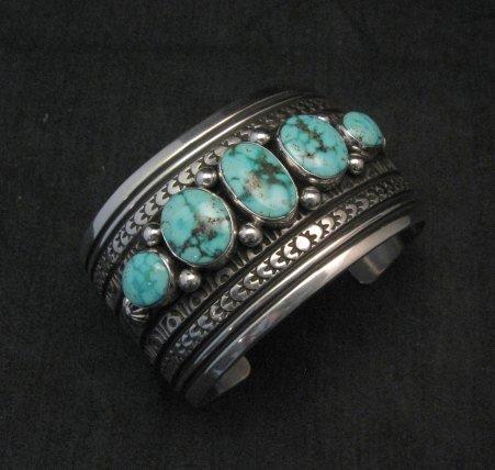 Image 1 of Darryl Becenti Navajo Kingman Turquoise Sterling Silver Cuff Bracelet
