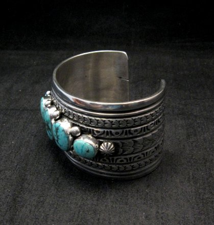 Image 2 of Darryl Becenti Navajo Kingman Turquoise Sterling Silver Cuff Bracelet