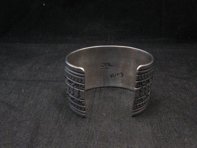 Image 4 of Darryl Becenti Navajo Kingman Turquoise Sterling Silver Cuff Bracelet