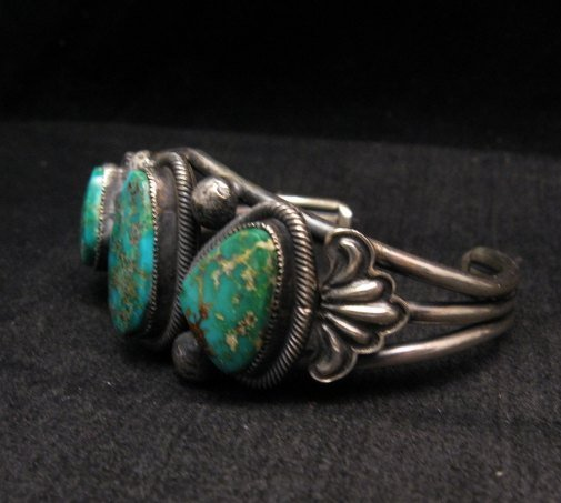 Image 1 of Native American Navajo Fox Turquoise Sterling Silver Bracelet, Leon Martinez