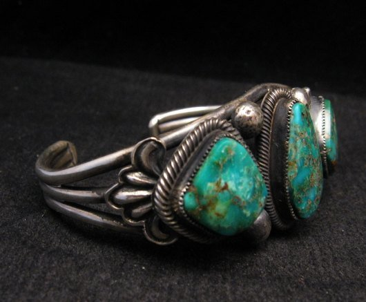 Image 2 of Native American Navajo Fox Turquoise Sterling Silver Bracelet, Leon Martinez