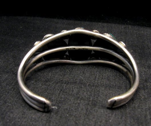 Image 4 of Native American Navajo Fox Turquoise Sterling Silver Bracelet, Leon Martinez