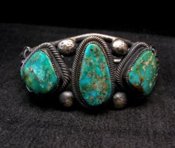 Native American Navajo Fox Turquoise Sterling Silver Bracelet, Leon Martinez