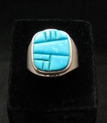 Native American Navajo Turquoise Inlay Ring Sz13 by Albert Tapaha
