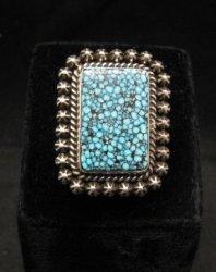 Native American Navajo Natural Kingman Web Turquoise Ring Sz8-3/4