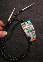 Multi-gem Cobblestone Inlaid Bolo * Edison Yazzie * Navajo