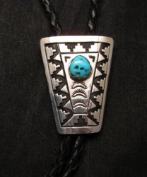 Navajo Turquoise Sterling Silver Bolo, Tommy & Rosita Singer