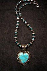 Navajo Kingman Turquoise Heart Pendant w/silver bead necklace, Happy Piasso