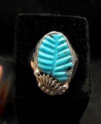 NATIVE AMERICAN ZUNI CARVED TURQUOISE SILVER RING, LOYOLITA OTHOLE, SZ15