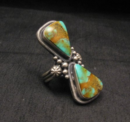 Image 1 of Huge Gloria Begay Navajo 2-stone Turquoise Sterling Silver Ring sz8-1/2