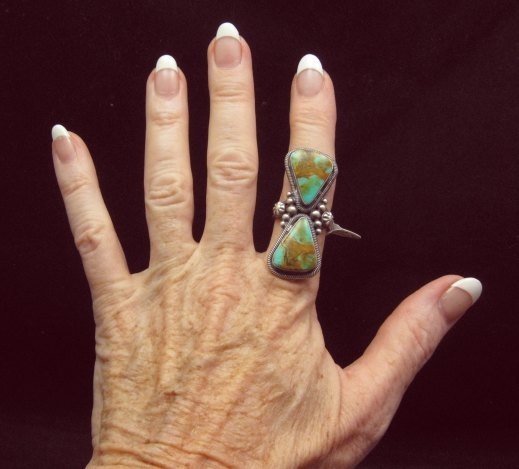Image 2 of Huge Gloria Begay Navajo 2-stone Turquoise Sterling Silver Ring sz8-1/2