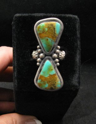 Image 4 of Huge Gloria Begay Navajo 2-stone Turquoise Sterling Silver Ring sz8-1/2